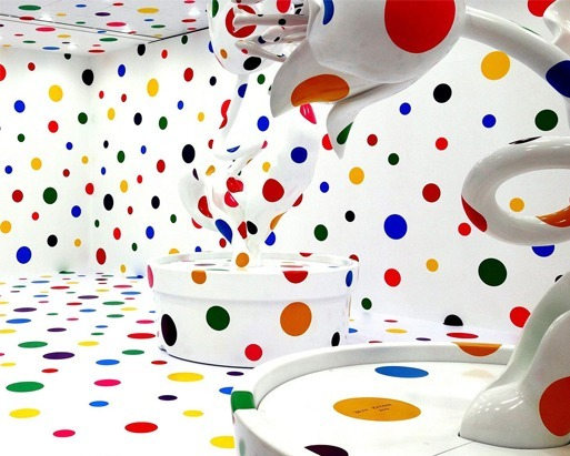 'Polka-dotted sculptures' by the artist Yayoi Kusama